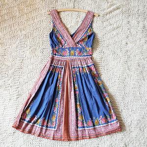 Blue Plate Floral Boho Cotton Dress - S